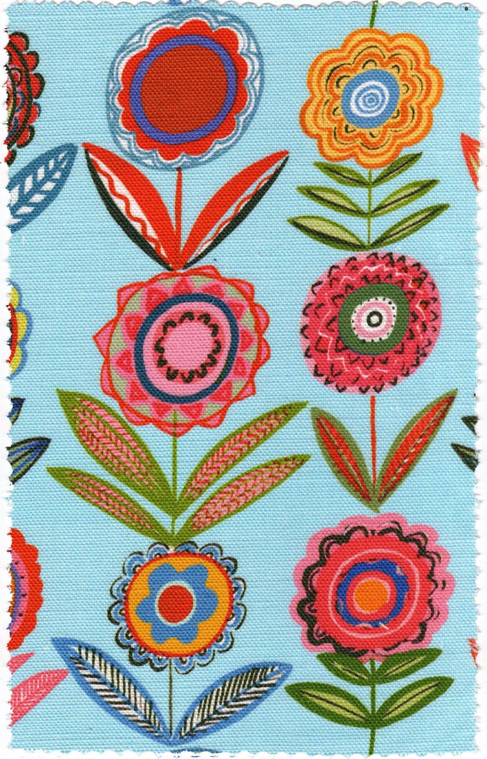 Flowers Blue 68cms- Medium- Bright Fabric for Curtains and Blinds